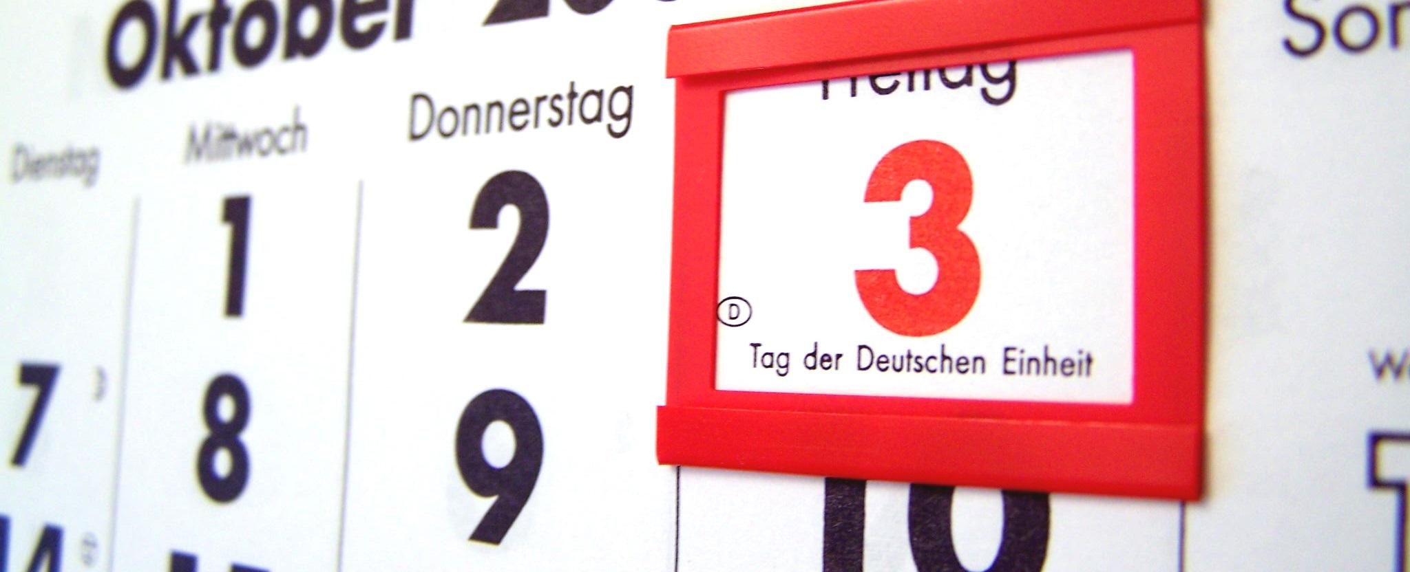 Kalender zeigt den 3. Oktober