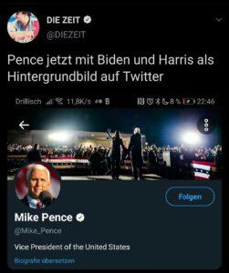 """Tweet von """"Die Zeit"""" mit einem Screenshot des Twitter-Profils von Mike Pence"""