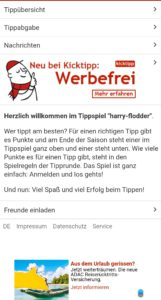 Screenshot der App Kicktipp mit Werbebanner und Hinweis auf Werbefreiheit