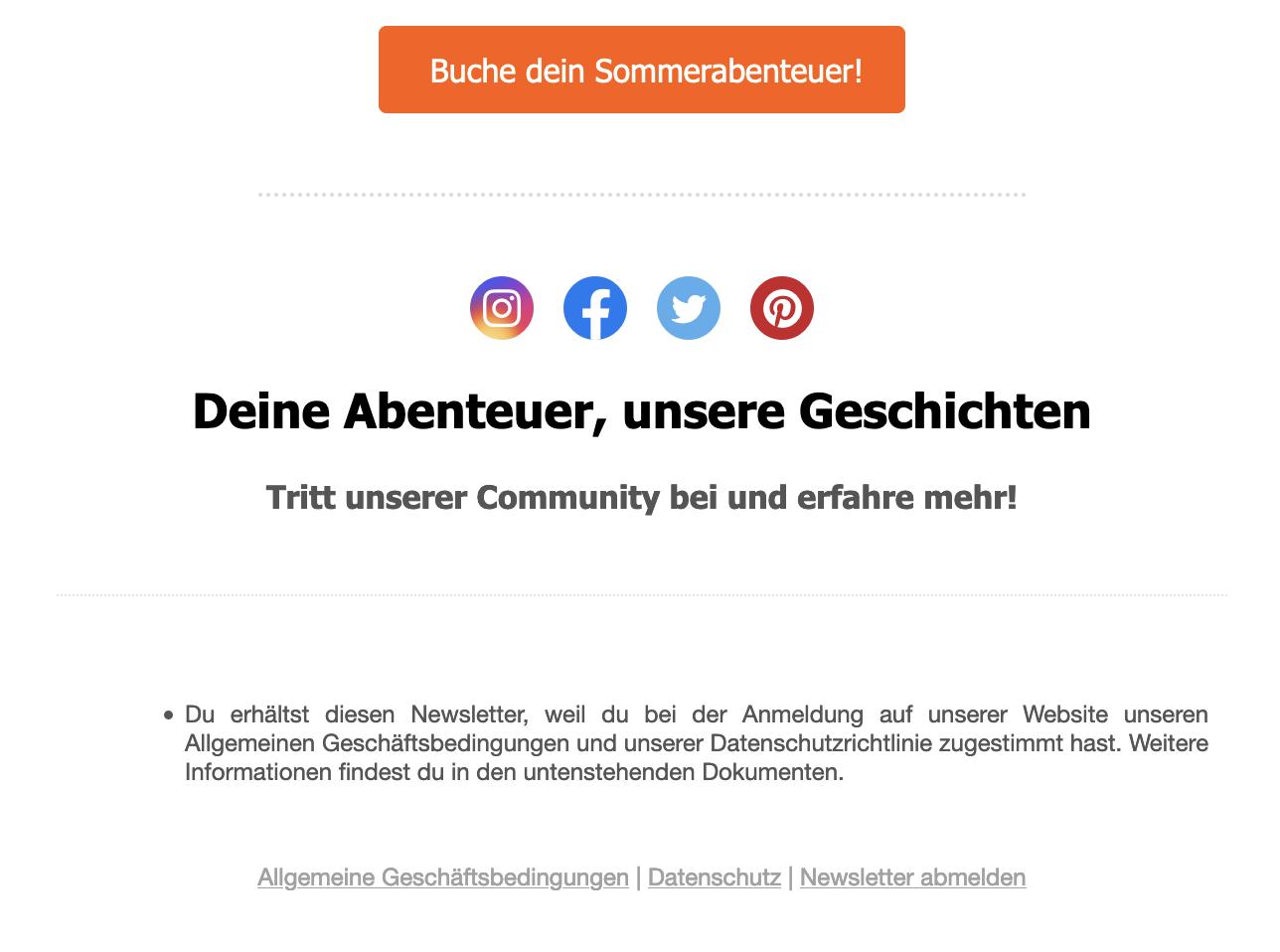 Newsletter von Flipboard, zunächst Inhalt, dann Social Media-Logos, darunter Text und dann Links, unter anderem zur Abmeldung
