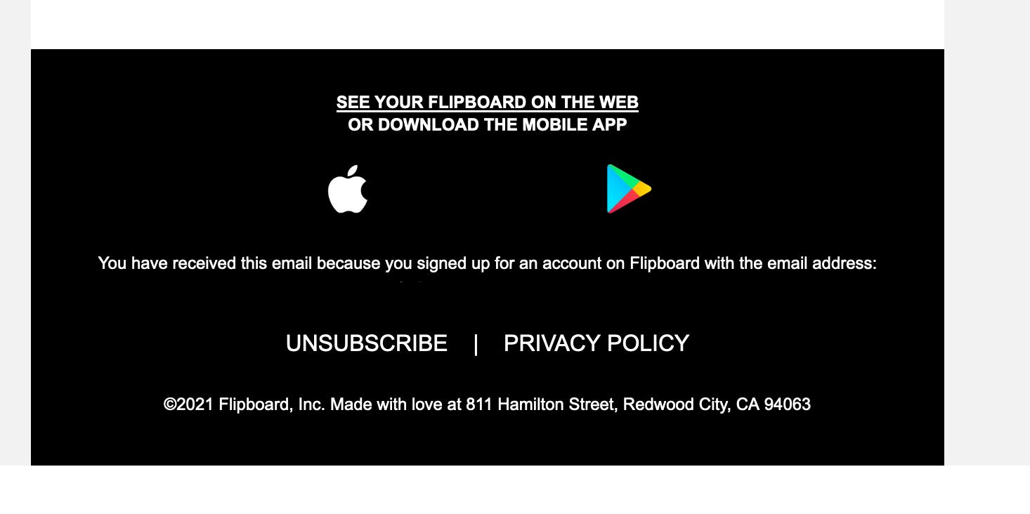 Screenshot des Flipboard Newsletter mit gut erkennbarem Link zur Abmeldung